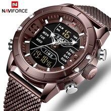 Naviforce relógio de quartzo dos esportes dos homens relógios de luxo superior marca aço inoxidável à prova dwaterproof água led digital relógio pulso relogio masculino