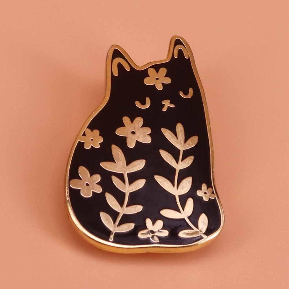 Эмалированная брошь на булавке в виде цветов для кошек милые значки с животными заколки в виде цветов для кошек подарок для влюбленных женщин аксессуары для рубашек и курток