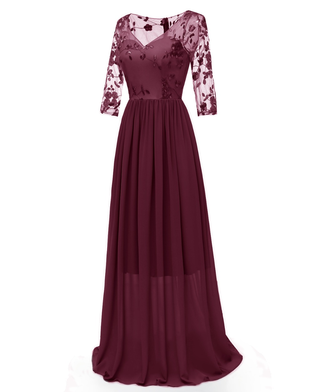 Women Floral Embroidery Lace Illusion Long Dress 3/4 Sleeve Sheer Back Maxi Dress Floor Length Formal Party Dress 4