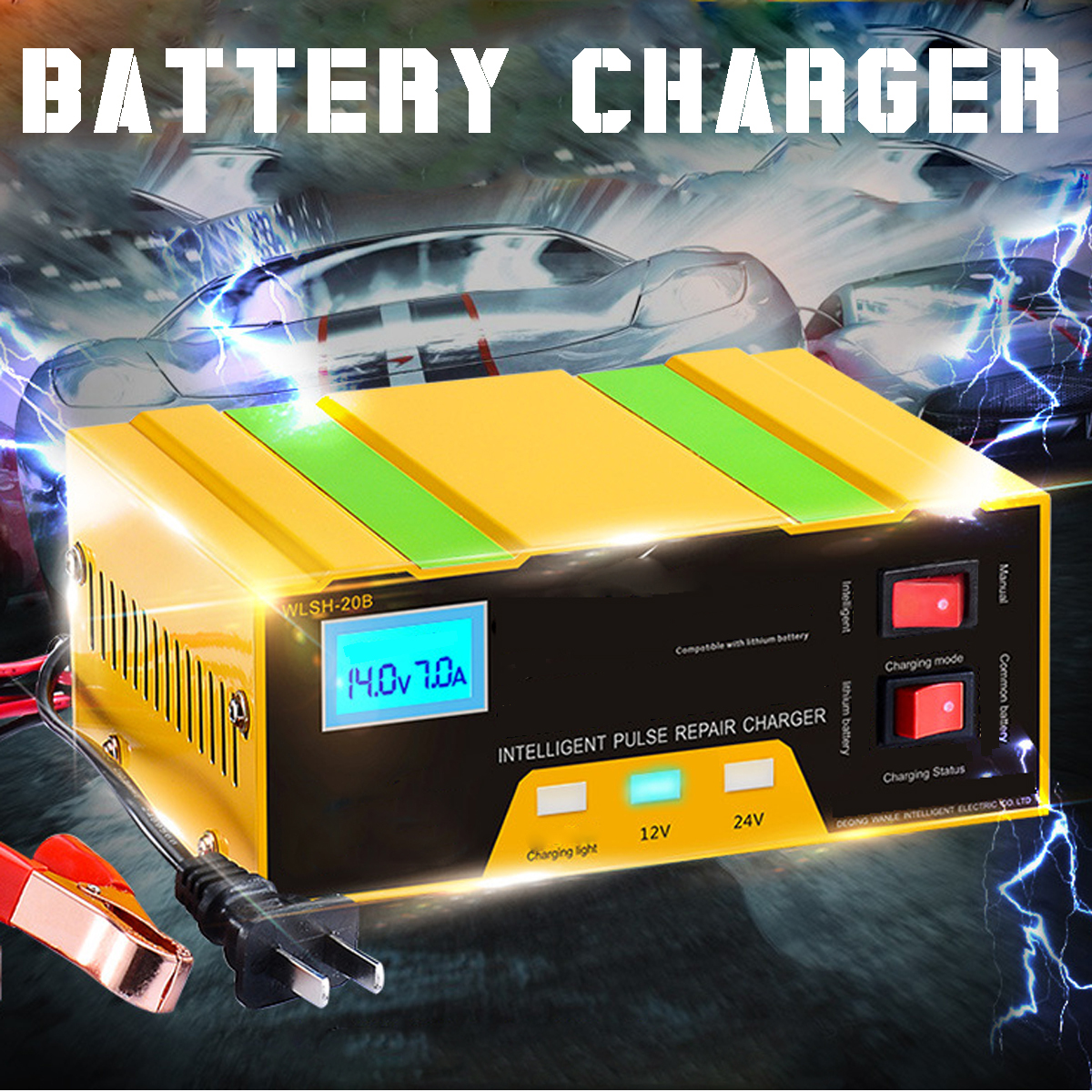Autoleader Car Battery Charger 12V/24V Motorcycle Battery Pure Copper Smart Repair Charger For Full Automatic Charging