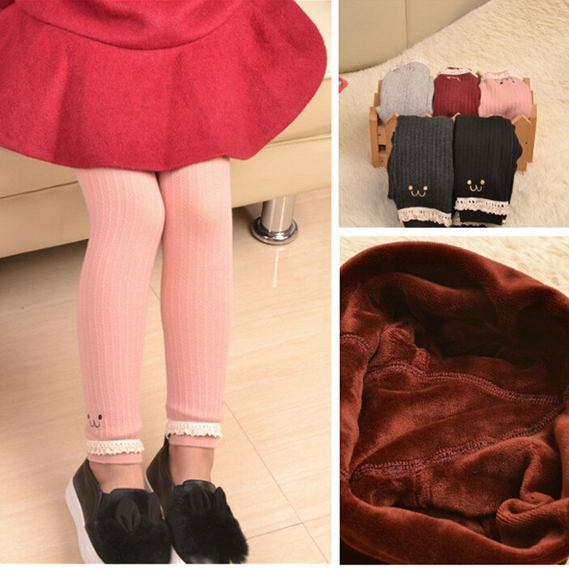 894325441692b 1 To 7 Years Girls Winter Thick Cashmere Warm Pink Red Leggings  Double-Layers Knitting Jacquard Leggings For Girls Winter Capris