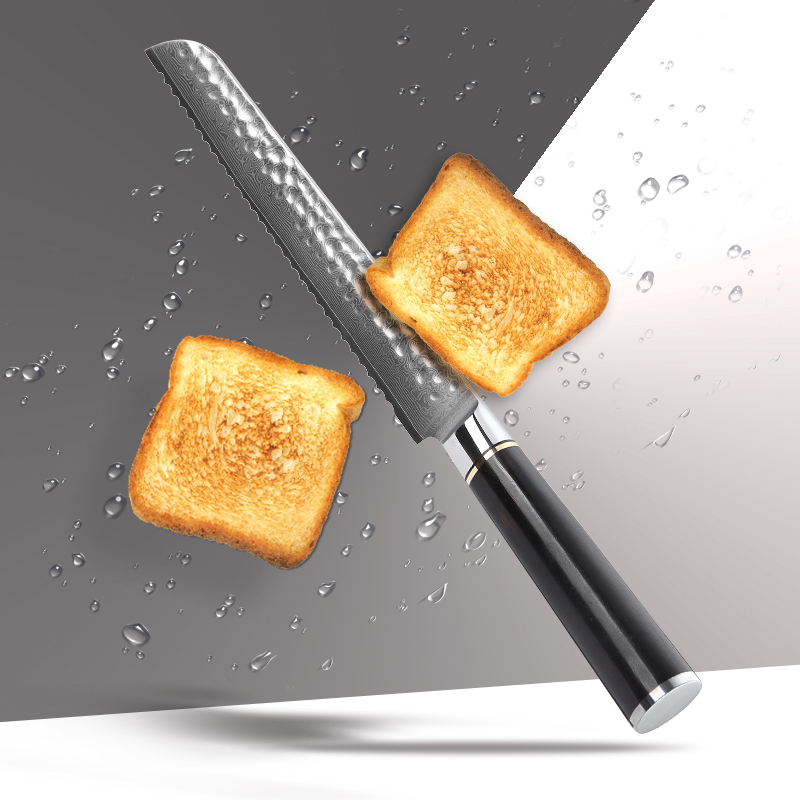 Ząbkowany nóż nóż do ciasta 8 cal japoński damaszek Steel VG 10 Nóż do chleba wyciąć chleb tostowy z naturalne Premium murzynki uchwyt w Noże kuchenne od Dom i ogród na  Grupa 3