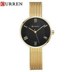 CURREN Для женщин часы лучший бренд класса люкс Нержавеющаясталь сетка Группа Золото Повседневная часы дамы Бизнес кварцевые часы Relogio Feminino