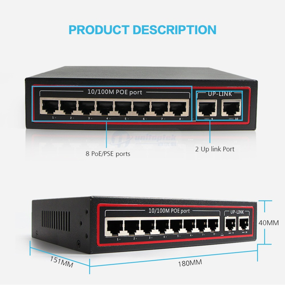 Image 4 - 10 Ports PoE Switch 8Ch With 2 Port Desktop Fast Ethernet Switch 10/100Mbps Network IP Cameras Powered-in Transmission & Cables from Security & Protection