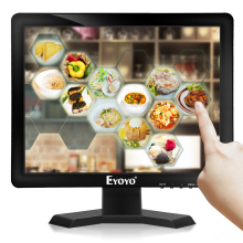 цены Eyoyo 15 Inch 1024*768 IPS TV Monitor Computer LCD Screen TV/HDMI/VGA/AV/USB Input for DVD PC CCTV Security Camera Raspberry Pi