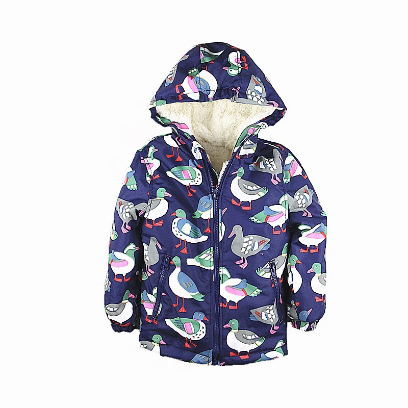 M19 Fashion duck printing Coat Winter Cotton child Padded Thicken Lining Jacket Hoodie Keep Warm Boy Girl Coat kids Tops Outwear girl winter coat 2017 flannel lining larger hooded warm padded cotton kids jacket suitable for extremely cold weather