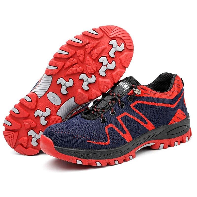 Tampas Dos gray Trabalho Sapatos 2019 De Botas Blue red Do Atletas No Tornozelo Respirável Segurança Homens Calçados Biqueira Esportivos Proteção Aço dqXvTHwrX