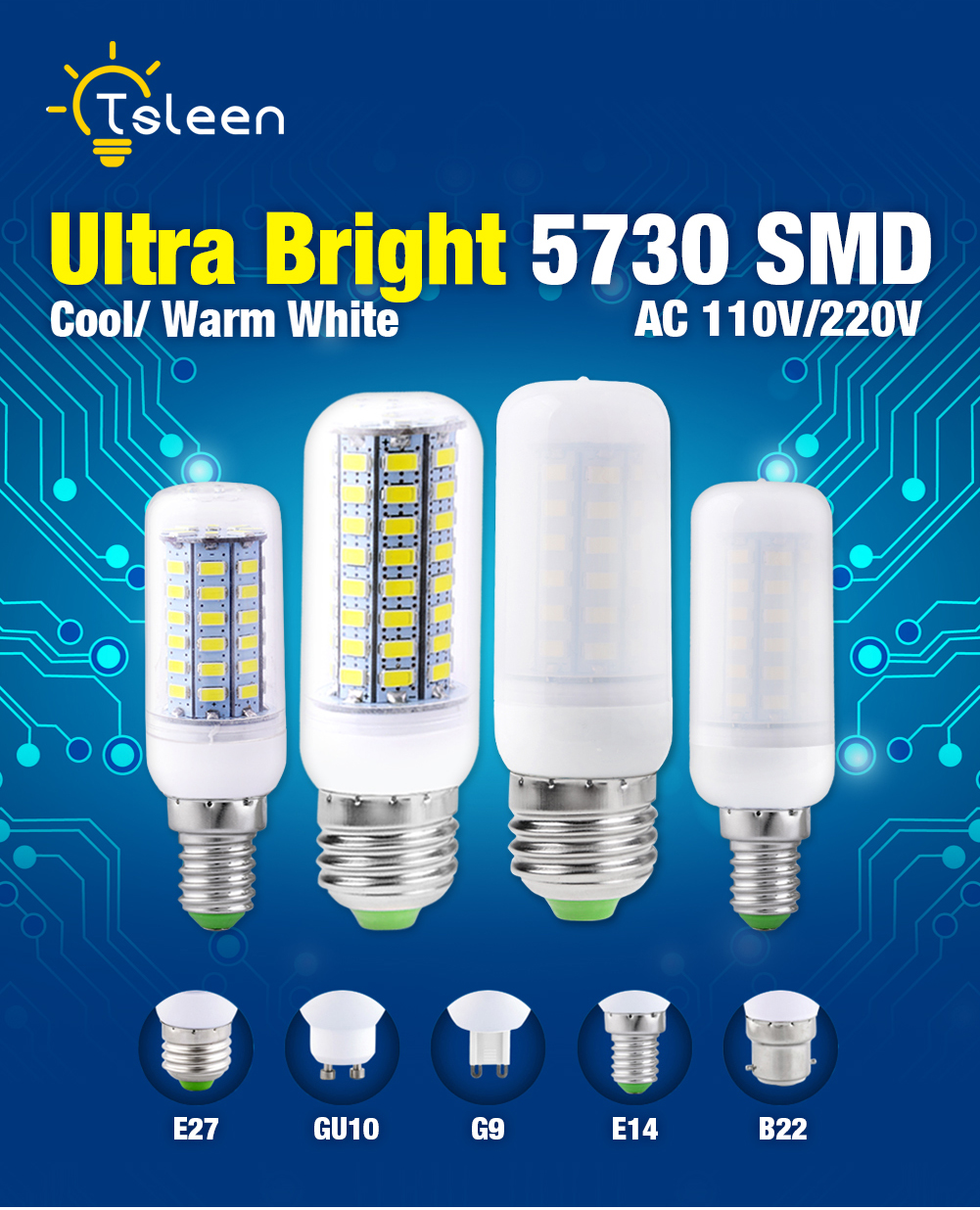 SMD 5730 LED Corn Light AC 220V B22/E14/E27/G9/GU10 Socket 24/36/48/56/69/72 LEDs 7/9/12/15/20/25W Cool/Warm White For Bedroom