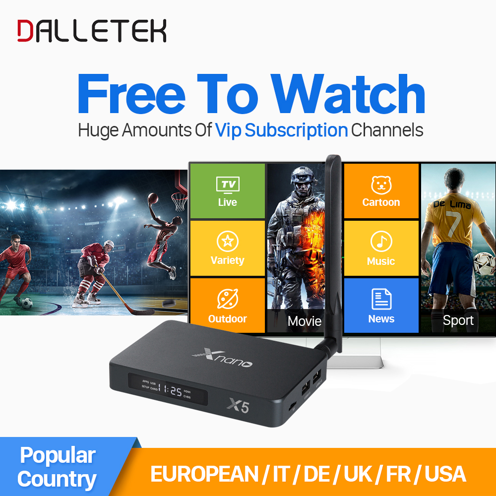 Xnano X5 Android 6.0 TV box Arabic UK Spain French Germany Netherlands Portugal Italian IPTV Subscription 2000+IPTV Channels