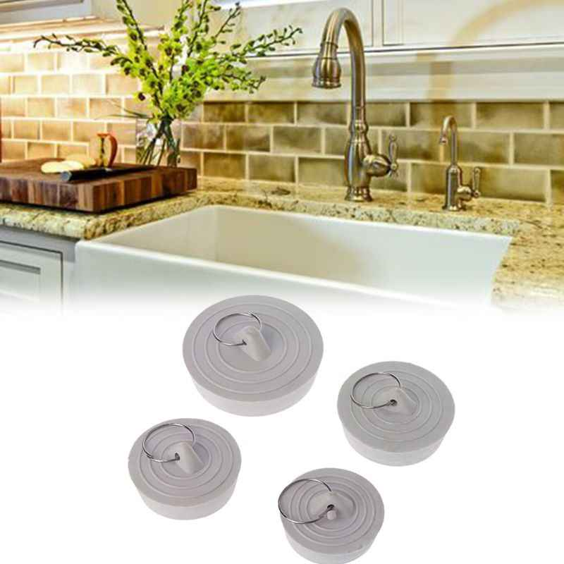 Rubber Sink Drain Stopper Plug With Hanging Ring For Bathtub Kitchen Bathroom