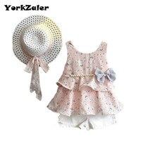 YorkZaler 3 PCS Set Summer Baby Girl Clothes Set Girls Clothing Set Sundress Sleeveless With Pearl