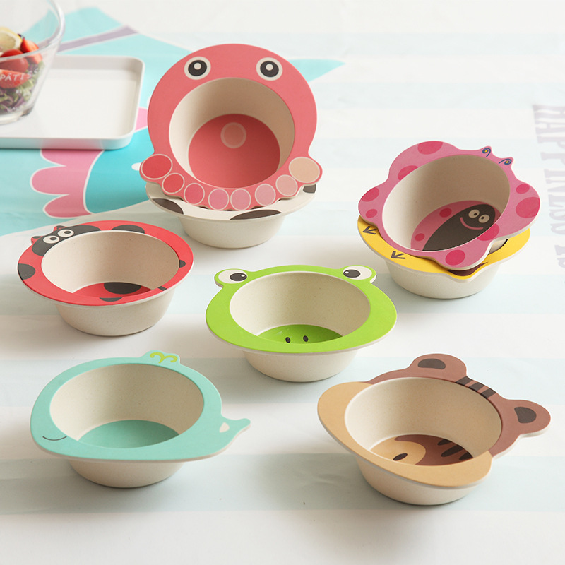 Solid Feeding Baby Food Bowl ECO Bamboo Tableware Non-slip Dinnerware For Feeding Baby Dishes Cartoon Children Kids Bamboo Plate