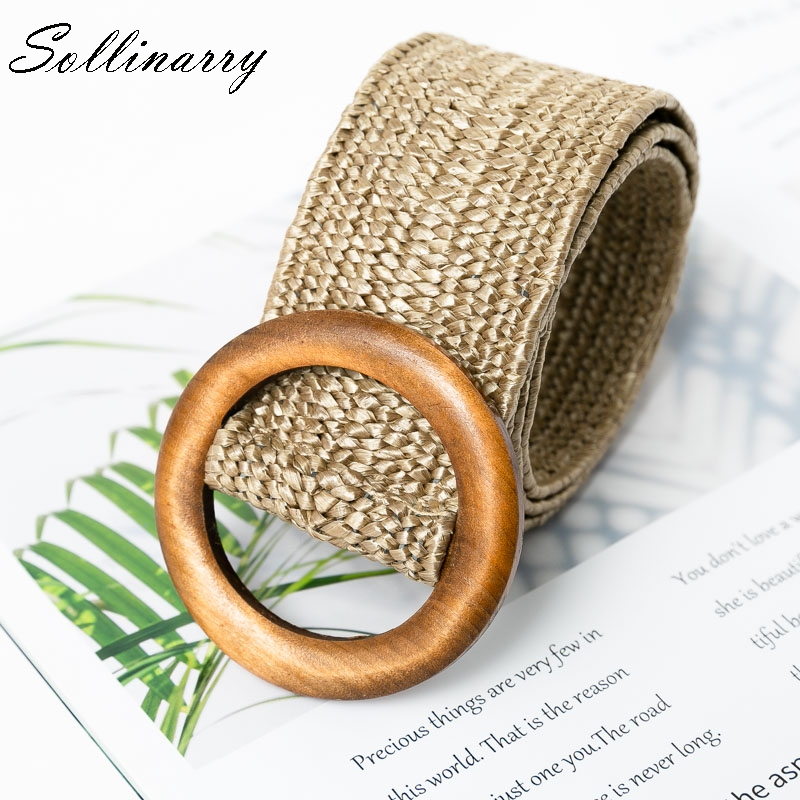 Sollinarry Fashion Wooden Button   Belt   Elastic Straw   Belt   Decoration Women waist for Dress   Belt   Casual Female   Belt   Accessories
