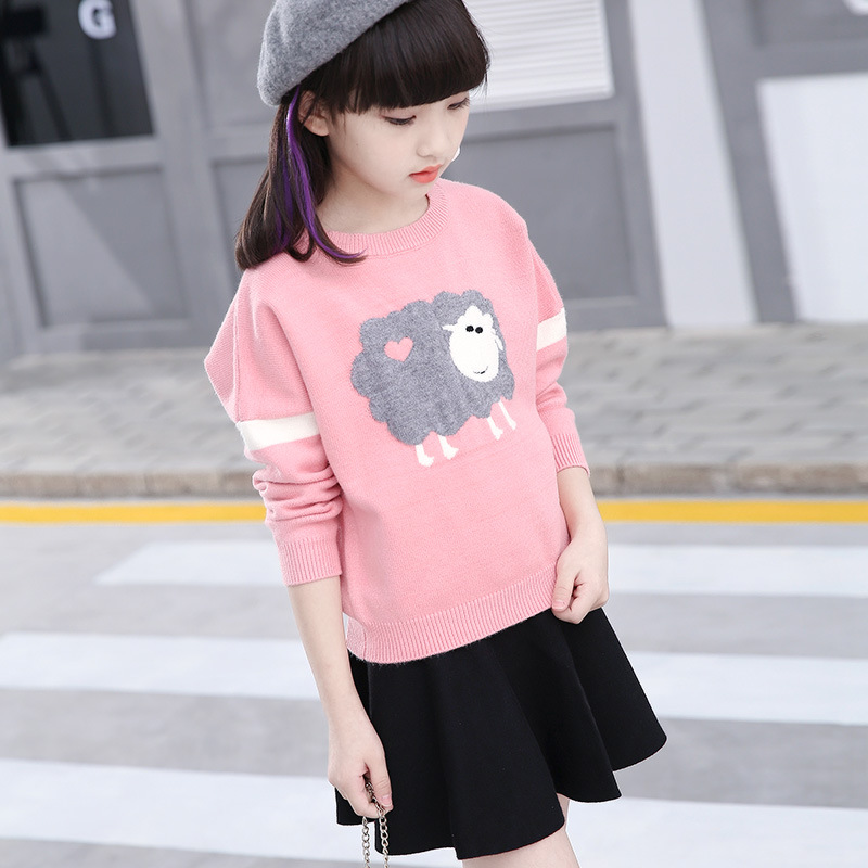 autumn kids sweaters Cartoon pattern sweater for girls 2017 new winter sweater baby girl clothes fit 3 4 5 6 7 8 9 10 years winter girls clothes sweater for baby girl 5 6 7 8 9 years children knit long sleeve pullovers cotton plaid autumn tops teeanger