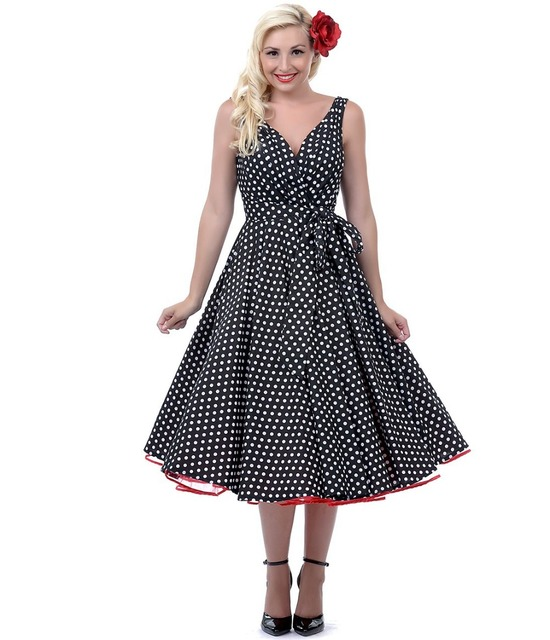 be0f351ce4e 1950s Style Clothing Unique Vintage Polka Dots Black   White Dottie Swing  Dress - Rockabilly Fashion Outfits