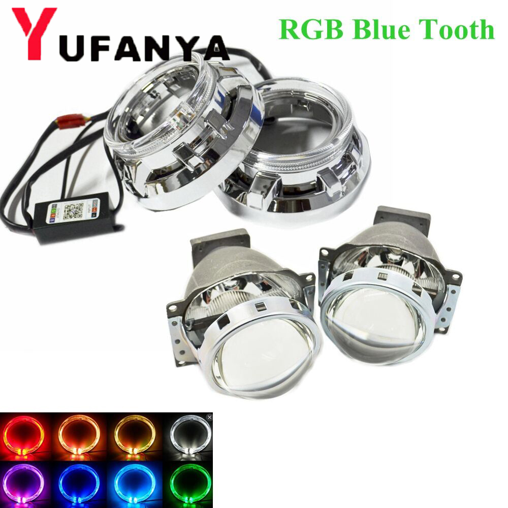 Bi Xenon Projector Lens with RGB app Bluetooth angel eyes shrouds for Headlight 3.0 Koito Q5 use D1S D2S D2H D3S D4S xenon kit источник света для авто sinolyn q5 koito
