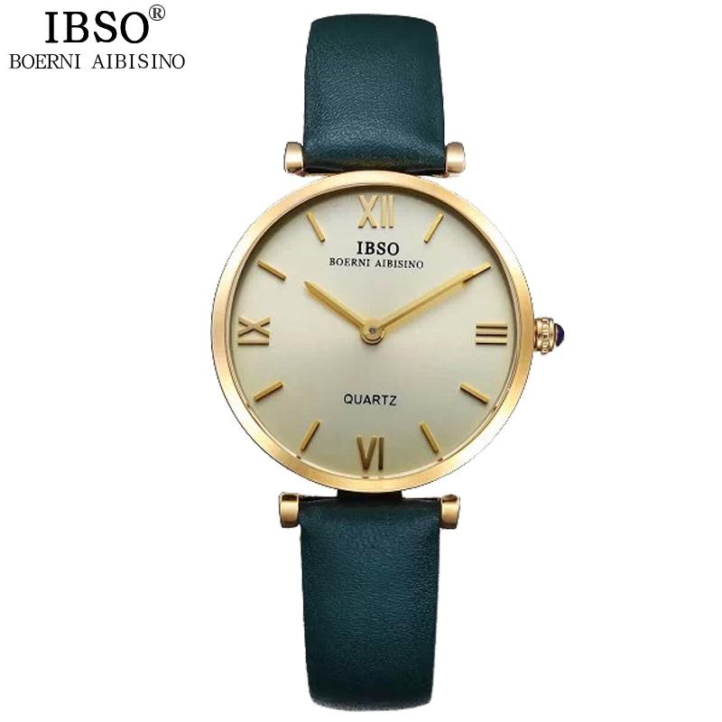 IBSO Brand Watches Ladies Wristwatches Luxury Red Genuine Leather Strap Quartz Clock Women Watches 2019 Relogio Feminino #B2210L|feminino|feminino relogio|  - title=