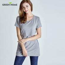 Green Home Summer Maternity Nursing Top For Pregnant Women Daily Wearing Pregnancy Clothes With Casual Style
