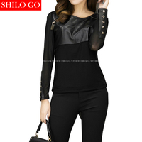 SHILO GO Fashion Street Women S O Neck Sexy Lace Metal Rivet Long Sleeve Sheepskin Genuine