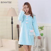 98024a277f Nightgowns Women Flannel Round-Neck Kawaii Pockets Nightdress Warm Soft  Womens Leisure Winter Sleepwear High · 2 Colors Available
