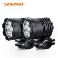 SAARMAT 2Pcs 8000Lm/set Motorcycle LED Headlight Waterproof Driving Spot Head Lamp Fog Light Motor Accessories 6000K white 12V