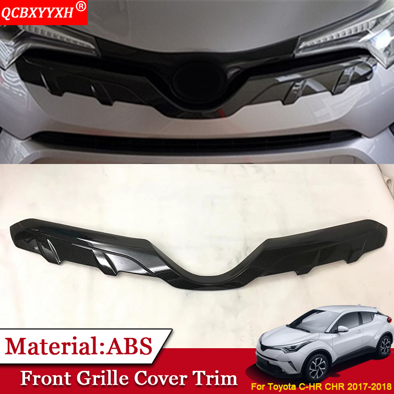 QCBXYYXH Car Styling ABS Front Grille Hood Engine Cover Trim External Sequins Car Accessories Fit For Toyota CHR C-HR 2017 2018 dwcx new fashion 4pcs car styling silver abs plastic matt inner door handle cover trim 17 6 x 6 7cm fit for toyota chr 2017