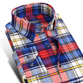 2017 Winter Comfort Soft Brushed Flannel Plaid Shirts Thick Pure 100% Cotton Business Casual Slim-fit Button Down Shirt For Men