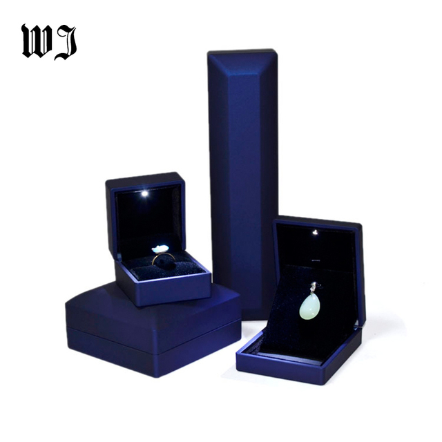 Unique Blue Leatherette Suede Engagement Proposal Ring Box Led Lighted Necaklace Bracelet Bangle Jewellery Gift Display Cases