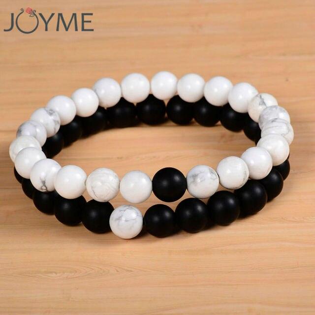 2 pcs/ensemble Couples Distance Bracelet avec 100% Pierre Naturelle Blanc  et Noir Yin