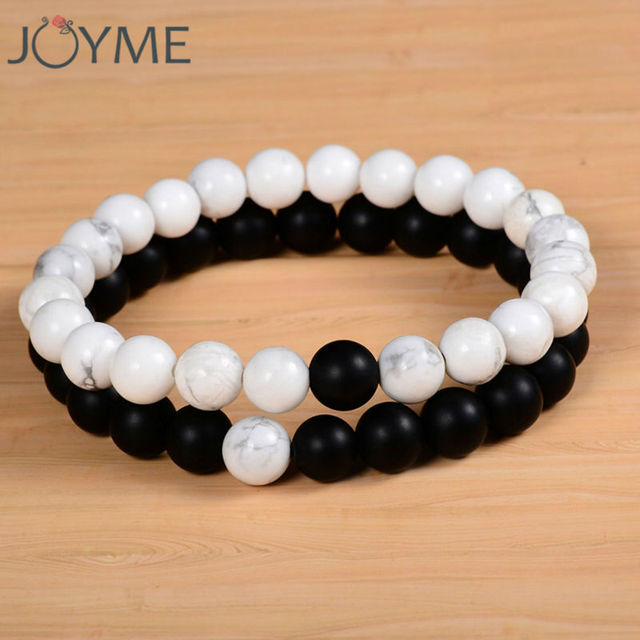 2pcs Set S Distance Bracelet With 100 Natural Stone White And Black Yin Yang