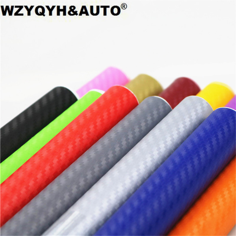 100mmX1270mm DIY Car Styling 3D Thicken 3M Car Carbon Fiber Vinyl Wrapping Film Car Stickers Waterproof With Air free bubbles high quality apple green carbon fiber film vinyl car sticker for car wrapping with air bubble free fedex free shipping 30m roll