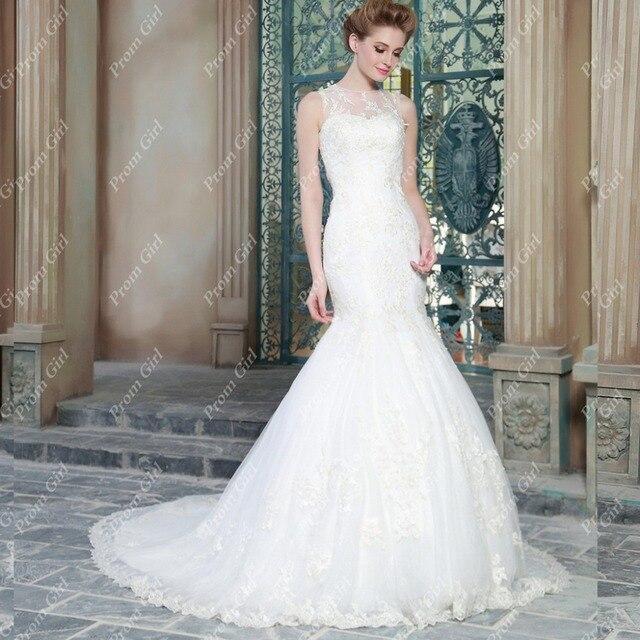 Lace Wedding Dress 2016 Scoop Sheer Top Mermaid Tail Wedding Dress ...