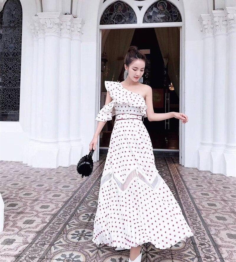 Sexy Qualité Portrait À Polka Auto Longue Une Dot Plage Robe Printe Haute 2018 Épaule Femmes D'été Volants Plissée xBqwnF