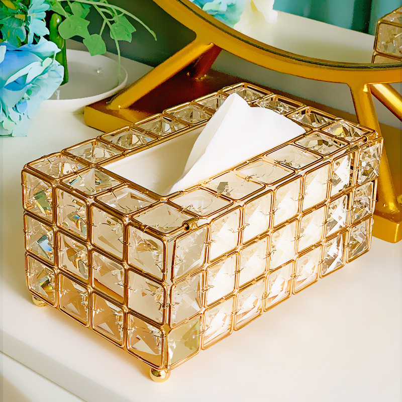 Tissue Case Storage Box Shinning Gold Silver Glass Paper Container For Restaurant Car Home Hotel