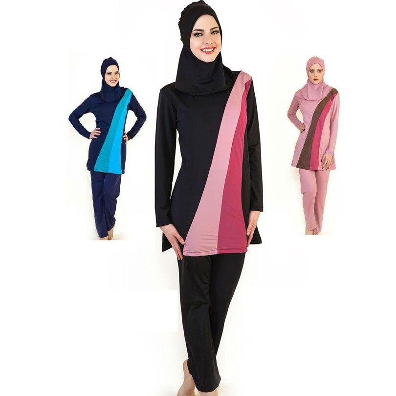 4XL-S Musulman Maillot De Bain L'islam De Natation Vêtements Femmes Islamique Maillot de Bain Adulte Islamique Maillots De Bain Femmes Plus Noir
