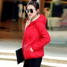 Women Winter Solid Hooded Long Sleeves Thin Wool Zipper Short Coat Casual Simple Chic Style Warm Coat