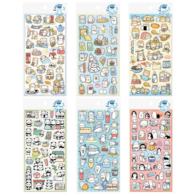 US $1 04 25% OFF|Animal Panda Cat Shiba Chipmunk Seals Decorative  Stationery Stickers Scrapbooking DIY Diary Album Stick Lab-in Stationery  Stickers