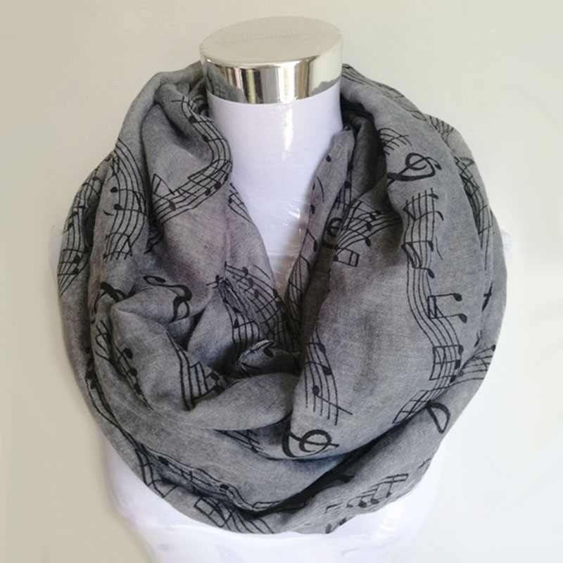 10pcs/lot Musical Notes winter Infinity Scarf Women music shawls and scarves foulard bufandas mujer 2015 echarpes foulards femme