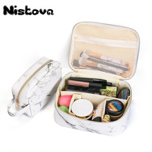 Marble PU Portable Travel Organizer Cosmetic Bag Multifunction Makeup Vanity Case with Gold Zipper Toiletry for Woman
