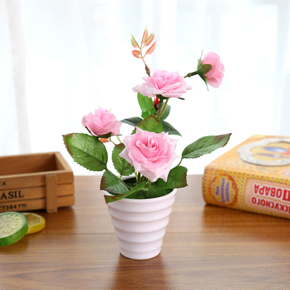 Mini Artificial Rose Silk Flower Fake Leaves Plastic Flower Pots