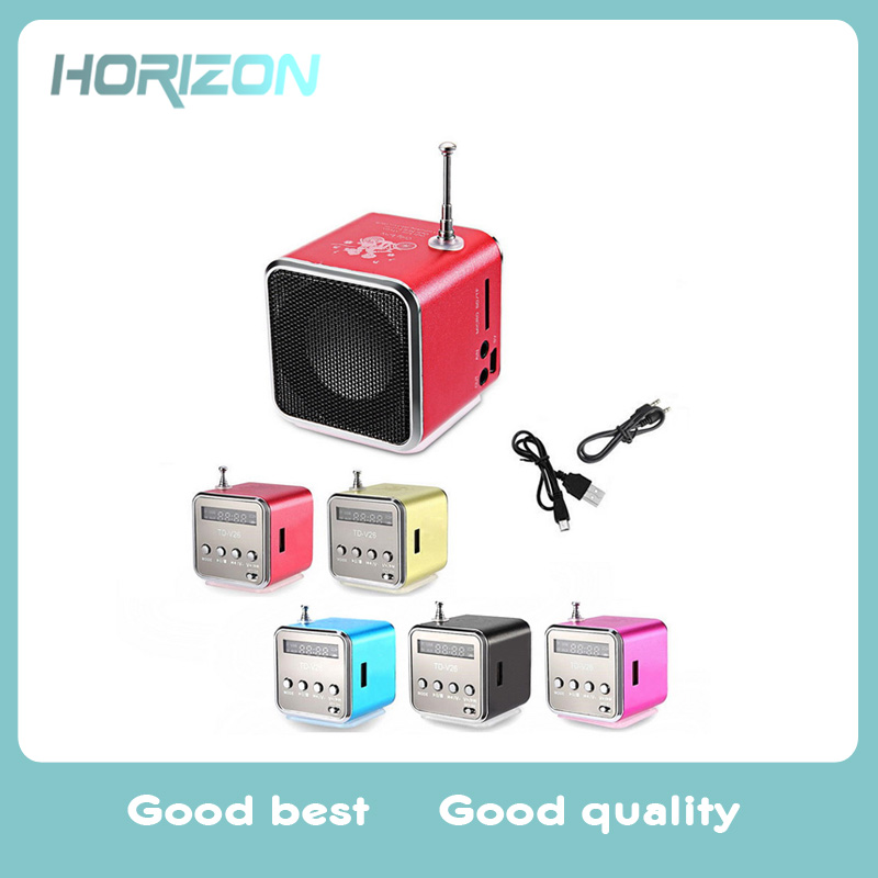New TD-V26 Mini Speaker Portable Digital LCD Sound Micro SD/TF FM Radio Music Stereo Loud speaker for Laptop Mobile Phone MP3