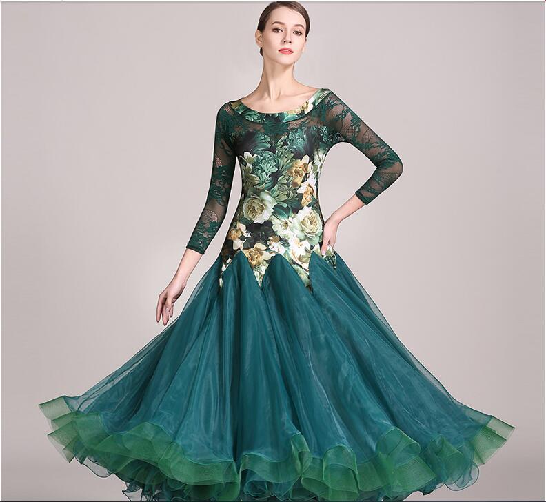 2018 Green lroom dress woman ballroom dance dresses ballroom tango dresses standard social dress rumba costumes waltz dance wear