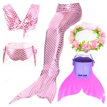 Swimmable Children Mermaid Tails With Monofin Fin Bikinis Set Girls Kids Swimsuit Mermaid Tail