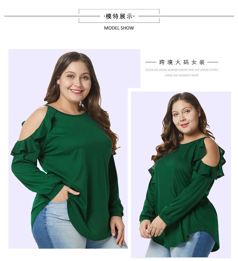 ab7a8e341a5277 Cold Shoulder Women Blouse Elegant Ruffles Long Sleeve Tunic Tops Green  Plus Size Women O Neck Loose Oversized Blouse Shirt. undefined undefined