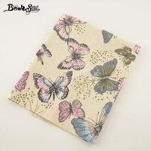Tela de lino y algodón Booksew, hermoso Material de costura con diseño de mariposa para mantel, almohada, bolso, cortina, cojín Zakka Tissu CM