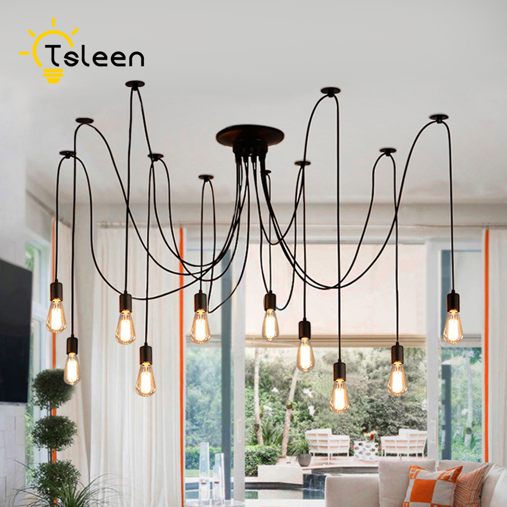 TSLEEN Free Shipping! E27 E26 LED Retro Edison Bulb Pendant Lights DIY Ceiling Hanging Vintage Loft Nordic Classic Golden Lamps mordern nordic retro edison bulb vintage chandelier loft antique adjustable diy e27 art spider pendant lamps home fixture lights
