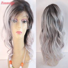 8A Grey Ombre Wig Lace Front Wig Ombre Grey Virgin Brazilian Hair Wavy Full Lace Human Hair Wigs