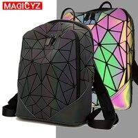 Luminous female backpacks Fashion Triangle splice glowing backpack For women Girls School bag Multi Function Ladies Shoulder Bag