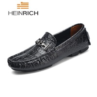 HEINRICH Shoes Men Genuine Leather Luxury Brand Men Shoes Loafers Breathable Driving Shoes Large Size Flat Shoes Men Chaussure