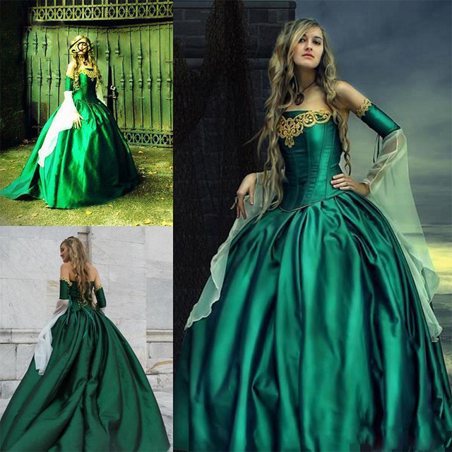 2017 Gothic Emerald Long Prom Dresses Victorian Ball Gown Long ...
